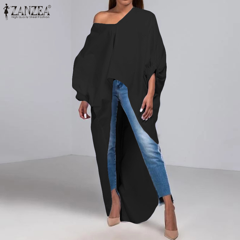 Women Sexy Asymmetrical Hem Shirt ZANZEA Elegant Work Office Blusas Casual Lantern Sleeve Tunic Tops Lady Cotton Linen Blouse 7