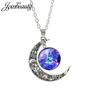 JOINBEAUTY Dreamy Stars Pattern 12 Zodiacal Signs Scorpio Necklaces Moon Pendant Glass Dome Necklace Fashion Women Jewelry ZX02
