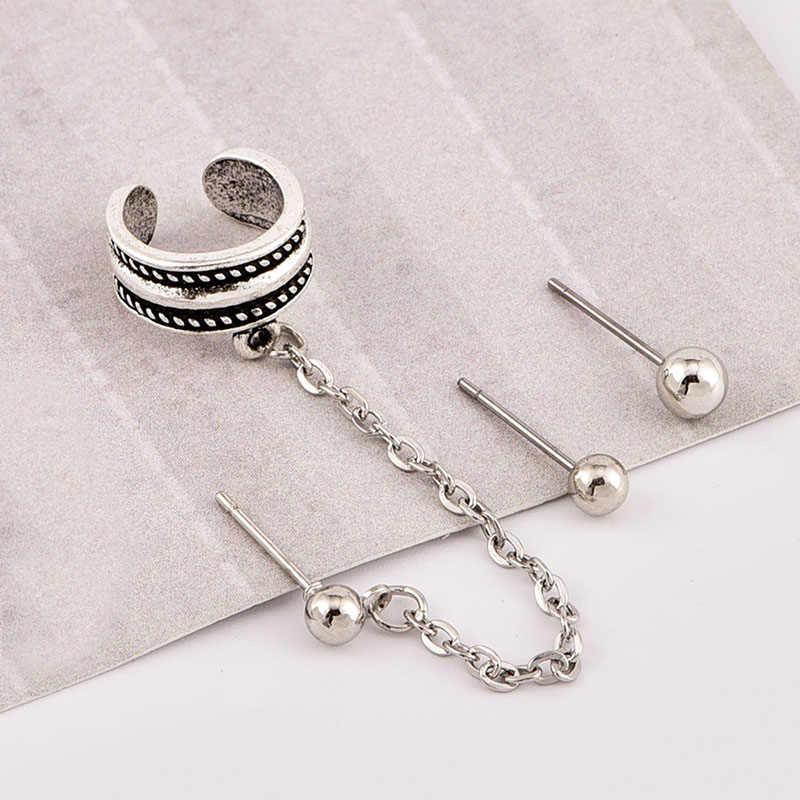 New Punk Girl Leaf Chain Long Tassel Cuff Vintage Boho Clip Stud Earrings Set For Women Silver Geometric Ladies Party Jewelry