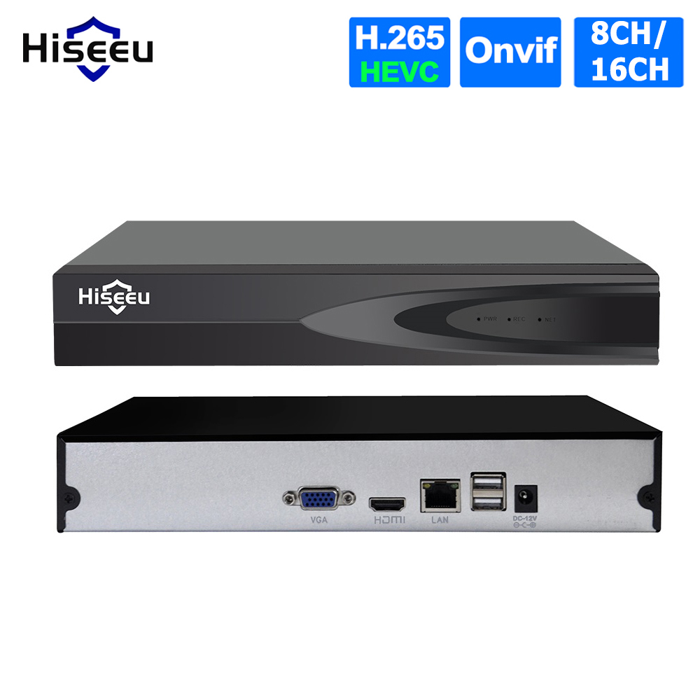 Hiseeu CCTV NVR Video-Recorder Ip-Camera ONVIF H.265 16CH Network 8CH for 3MP/2MP Metal