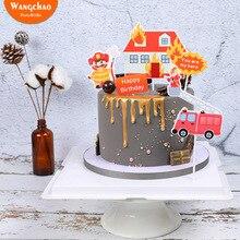 1 комплект пожарный торт Топпер пожарные двигатели лестницы Город Герои Тема торт украшения счастливые украшения для торта на день рождения вечерние принадлежности