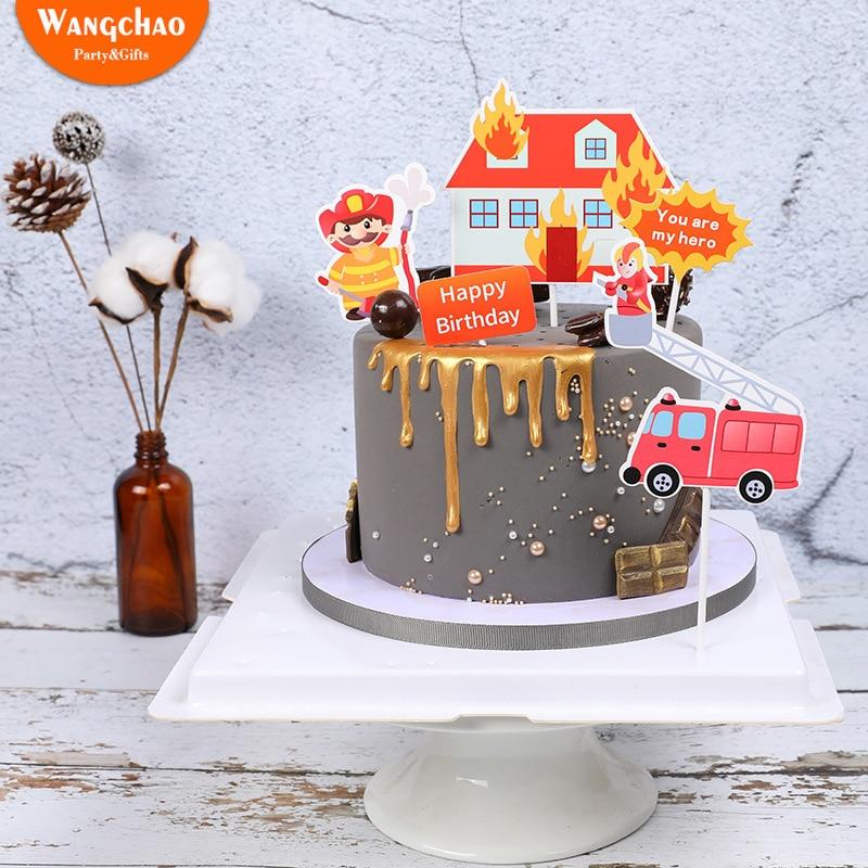 Tremendous 1 Set Fireman Cake Topper Fire Engines Ladders City Heroes Theme Funny Birthday Cards Online Elaedamsfinfo