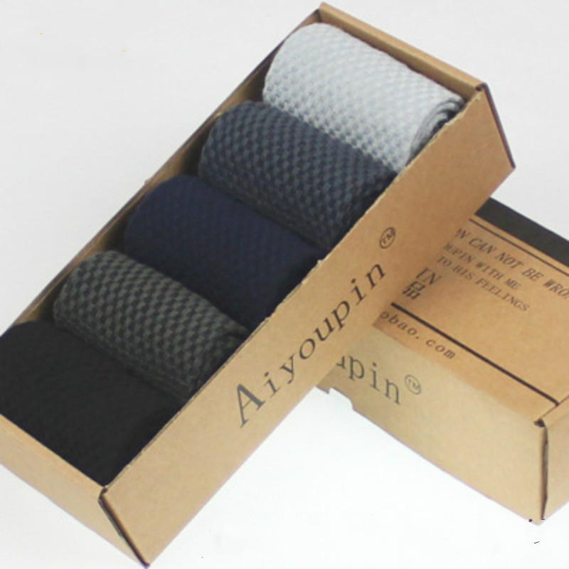 5 Pairs Men Bamboo Fiber Standard Solid Color Socks Brand New Casual Business Mens Gift Box Sets Crew Socks Size 42