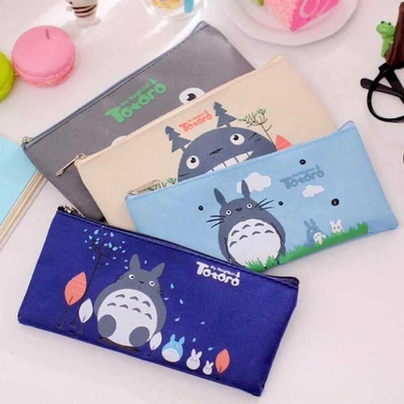 Cute Kawaii Fabric Pencil Case Lovely Cartoon Totoro Pen Bags For Kids Gift Zakka kawaii stationery estuches school supplies