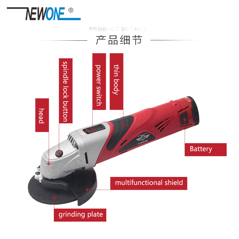 Grinder Soft Cordless Metal Machine M10 Wood 2A Cutting 100MM Tool Angle Electric Grinding Power DC NEWONE 12V Polisher