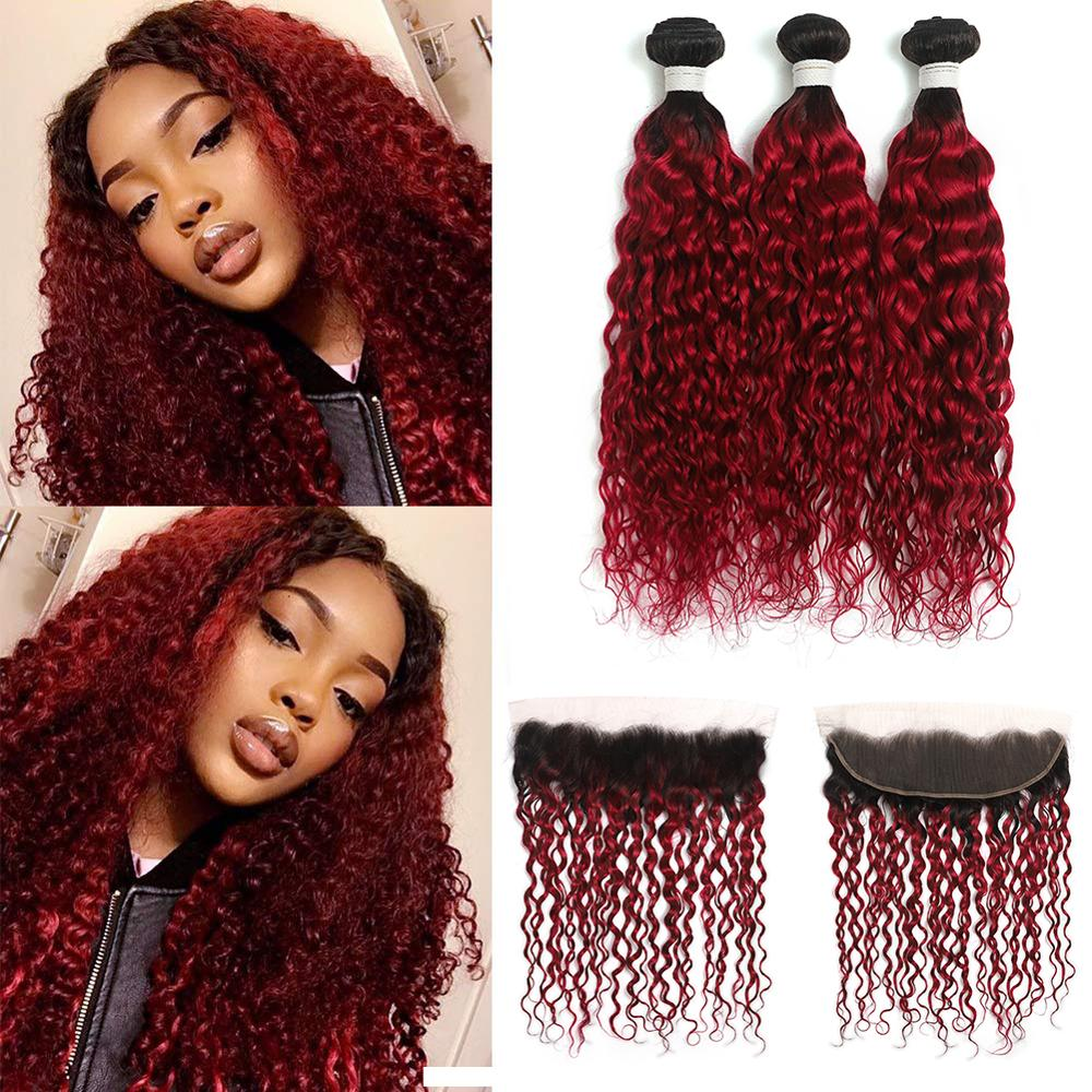 Ombre Bundles With Frontal Brazilian Water Wave 3 Bundles With Closure SOKU 1B/BURG Ombre Red Human Hair Weave Bundles Non-Remy