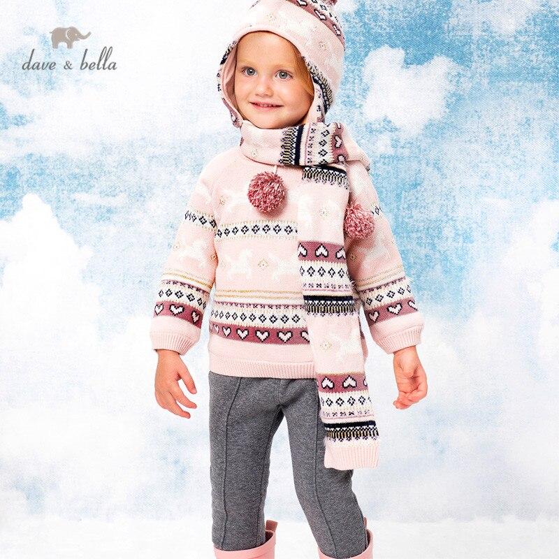 DB15685, детский вязаный свитер с изображением Дейва Беллы на зиму для маленьких девочек, модные детские топы для малышей|Свитера| | АлиЭкспресс
