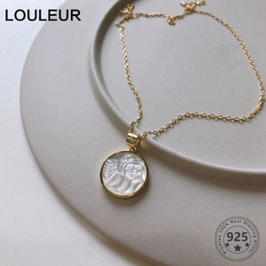 LouLeur 925 Sterling Silver Shell Angel Baby Pendant Necklace Gold Original Round Western Style Necklace For Women Jewelry Gifts(China)