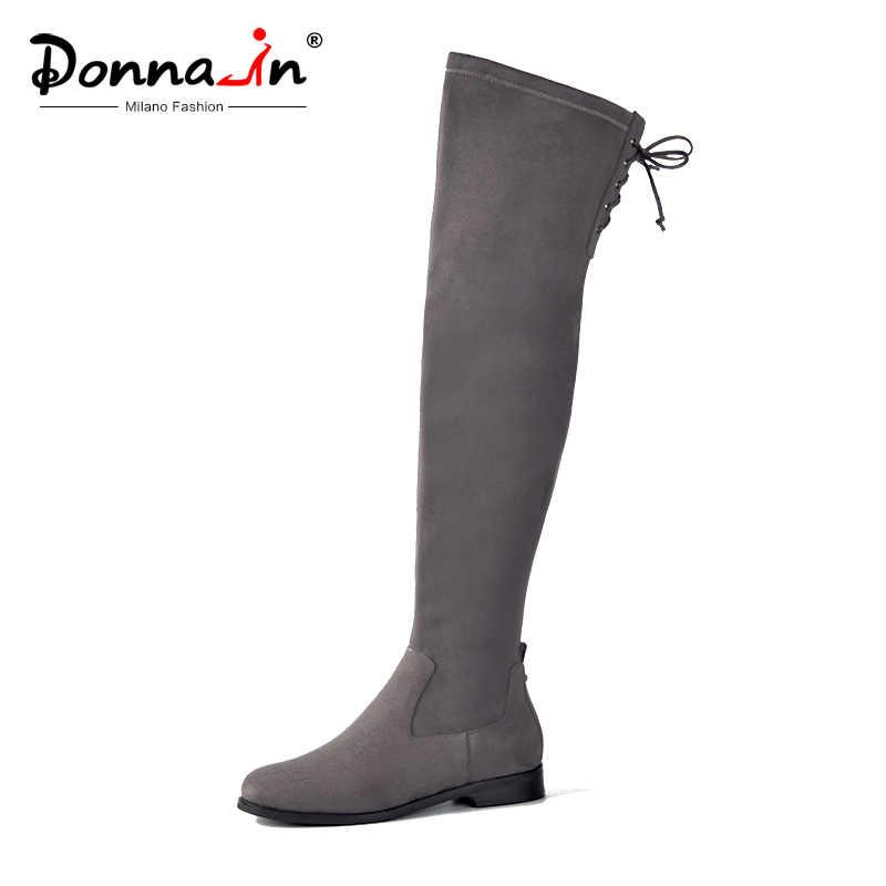Donna-in kadınlar diz üzerinde çizmeler düz rahat yuvarlak ayak Lace Up bayanlar yüksek botları hakiki deri yeni sonbahar kış kadın ayakkabı