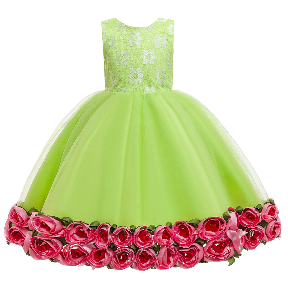 Europe And America Small CHILDREN'S Christmas Children New Style Evening Gown Princess Dress Women's Flower Boys/Flower Girls Pu