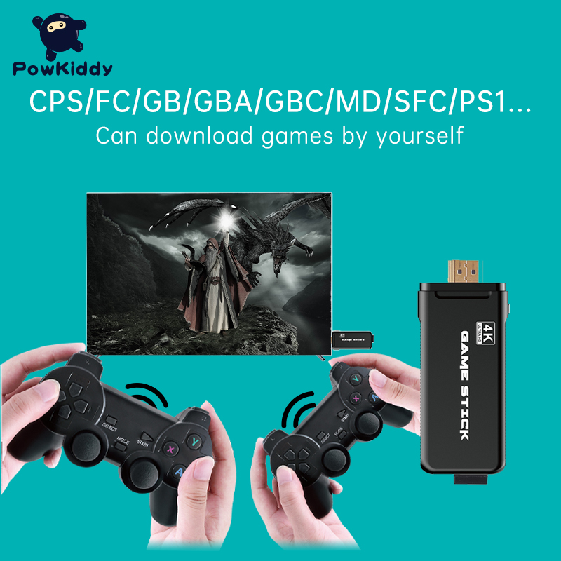 Console Tv-Stick Game Ps1 Mini Double-Controller CPS POWKIDDY Wireless 32GB HD 4k PK-05