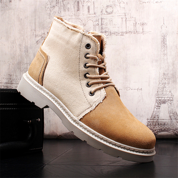 Fashion Ankle Boots Men Boots Genuine Leather Shoes Men Casual Shoes Spring Autumn Fashion Lace-up Thick Bottom Men Shoes