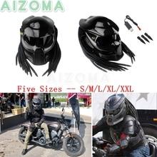 Carbon Fiber Motorcycle Predator Helmet Mask High Quality Moto Bike Iron Warrior Man Full Face Helmets w/ Transparent Sun Visor predator style face mask silver
