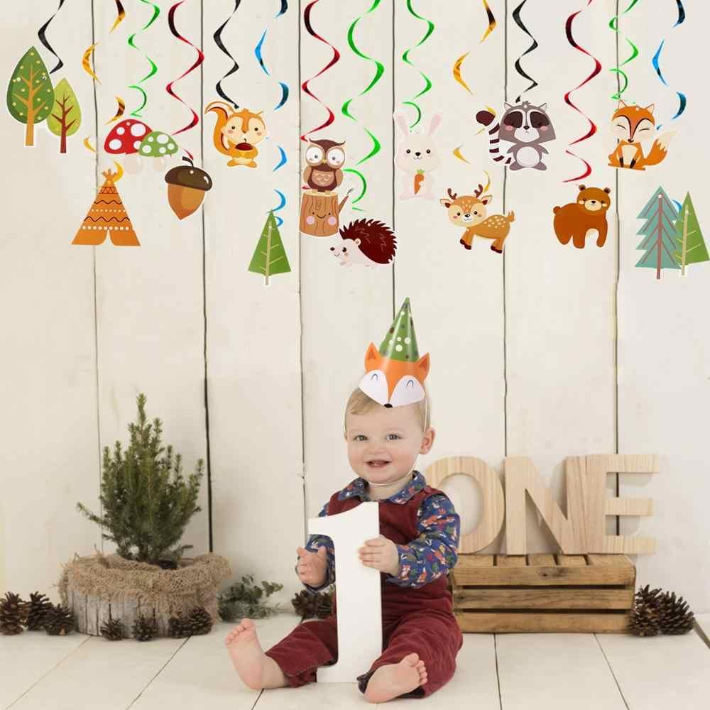 Huiran bois vaisselle jetable joyeux anniversaire fête décor enfants Jungle animaux assiettes tasses Safari bois fête fournitures