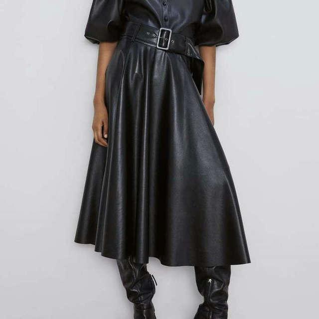 2019 New Fashion Women Autumn Winter PU Faux Leather Skirts Lady High Waist A-line Midi Mid-calf Maxi Long Black Skirt With Belt 1