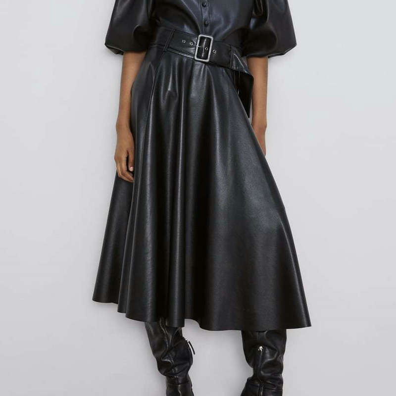2021 New Fashion Women Autumn Winter PU Faux Leather Skirts Lady High Waist A-Line Midi Mid-Calf Maxi Long Black Wine Red Belt