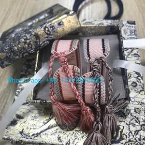 Embroidery Bracelet Bangle Jewelry Lion-Box-Set Tassel Letter Woven Cotton Luxury New