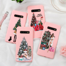 Christmas Black Brown Hair Mom Girl Case For Coque Samsung Galaxy S8 S9 S10 S6 S7 Edge Plus S10e J5 J7 J4 J6 Plus 2018 2017 Case(China)