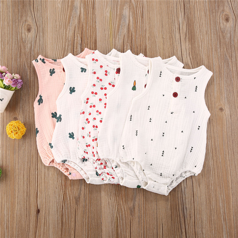 Baby Boys Girls Romper Summer Newborn Baby Girls Sleeveless Cactus Print One pieces Jumpsuit Baby Cotton Linen Clothes Outfits