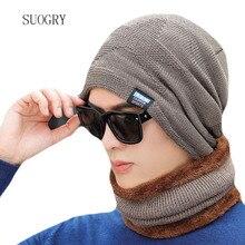 SUOGRY Winter Hats for Men Skullies Bonnets Knitted Hat Scarf Wool Women Gorras Beanie Mask Male Cap