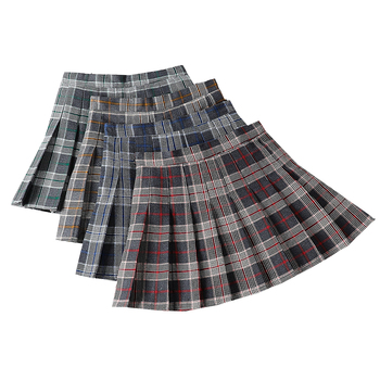 Women Pleated Short Skirt Harajuku Sweet Plaid Skirts High Waist A-Line Pleated Skirts Summer Streetwear Ladies Short Skirt