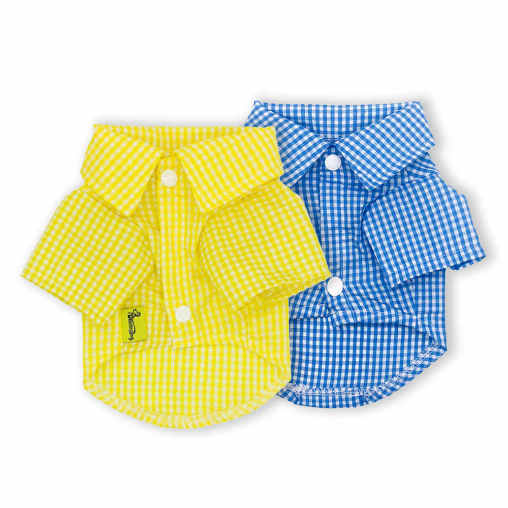 Summer Pet Dog Clothes Plaid Shirt For Small Medium Dogs Chihuahua Teddy Yorkie Clothing Puppy Cotton Vest Cat Costume XS-XXL