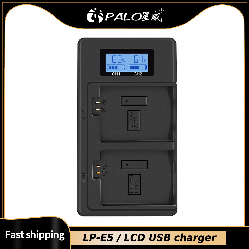 Palo LPE5 LP-E5 Lp E5 Batterij Lader Lcd Dual Slot Usb Lader Voor Canon Eos 450D 500D 1000D Kus X3 kiss F Rebel Xsi Camera