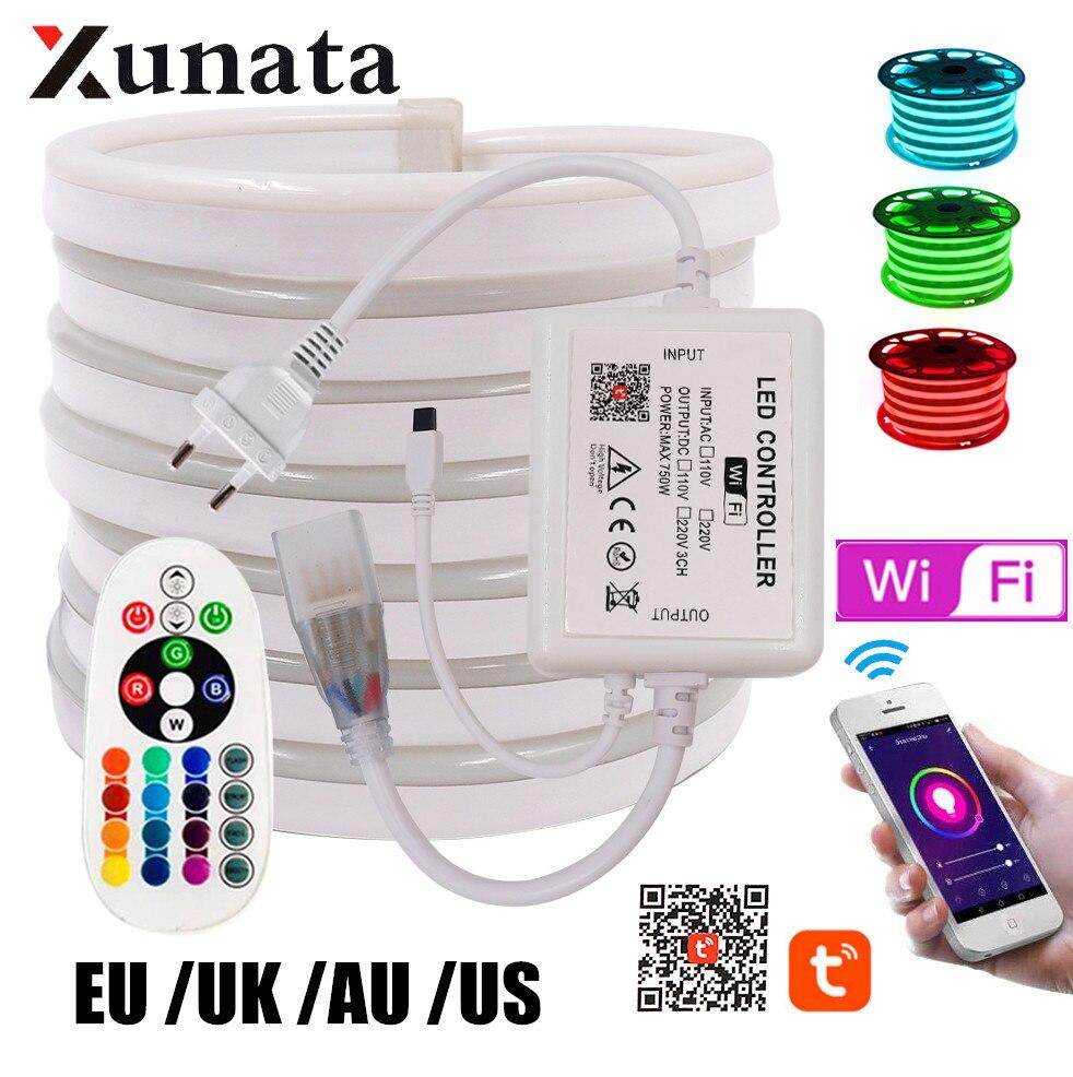 WI-FI Bleutooth Управление RGB неоновые полосы светильник 5050 2835 белый/теплый белый гибкий светодиодный неон светильник стандарта ЕС, США, Великобри...