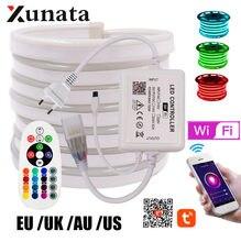 Wi fi bleutooth controle rgb néon tira luz lâmpada 5050 2835 branco/branco quente flexível led neon corda luz ue uk au 220v eua 110v