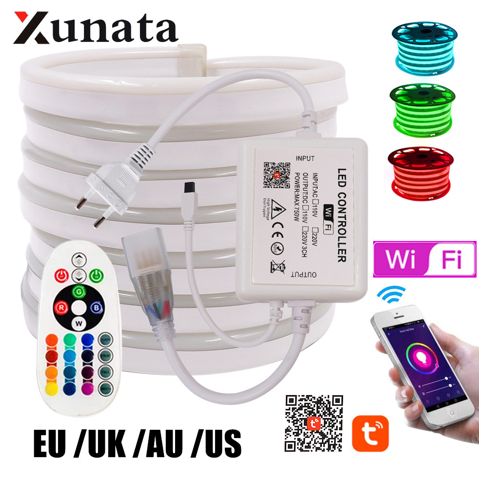 WIFI управление RGB неоновый светильник-полоса лампа 750 Вт управление ler + 24key дистанционный гибкий светодиодный неоновый светильник с веревкой ...