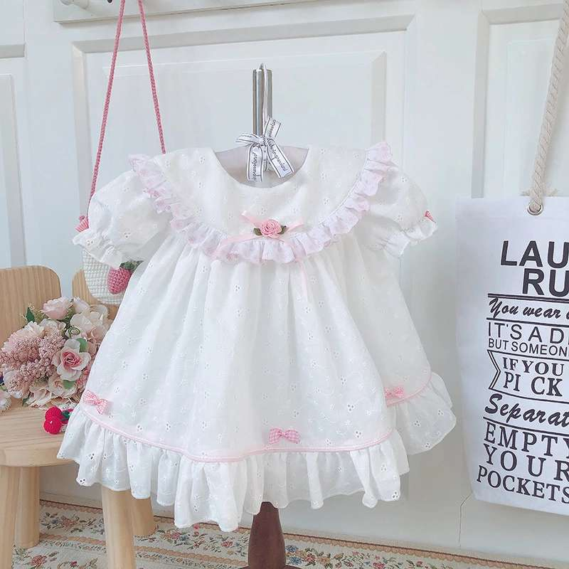 Summer Whirt Short Sleeve Dress Vintage Embroidery Princess Dress For Girl Birthday Easter Casual Dress Baby Cotton Clothes 0-6Y