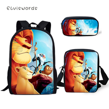 ELVISWORDS Fashion School Backpack Cartoon The Lion King Pattern School Book Bags Little Animal Designer 3PCs Set Students Bags lexpb little explorers b school play the big book