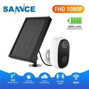 Камера видеонаблюдения SANNCE FHD 1080P, встроенная, с питанием от аккумулятора, 100% беспроводная, инфракрасная, Wi-Fi, для помещения и улицы