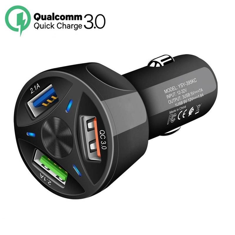 HobbyLane 3 Ports <font><b>USB</b></font> <font><b>Car</b></font> <font><b>Charger</b></font> Quick Charge 3.0 Fast <font><b>Car</b></font> Cigarette <font><b>Lighter</b></font> For Samsung Huawei Xiaomi iphone <font><b>Car</b></font> <font><b>Charger</b></font> d29 image