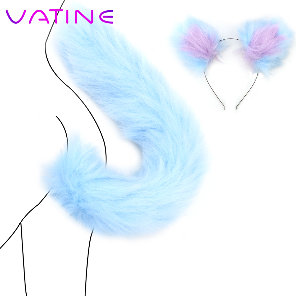 VATINE Sexshop Anal Plug Cute Smooth Touch Fox Tail Metal Butt Plug Adult Games With <font><b>Cat</b></font> Ears Headbands <font><b>Sex</b></font> <font><b>Toys</b></font> For Couples image