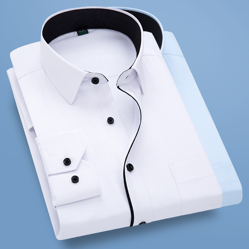 Autumn New Men Shirt Smart Casual Long Sleeved Button Down Male Twill Shirts Formal Business White Blouse 4XL 5XL 6