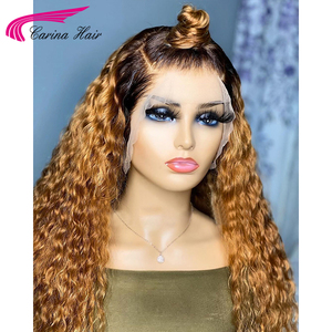 Image 3 - Honey Blonde Ombre Curly Lace Front Human Hair Wigs With Baby Hair 13x6 Lace Front Wig 180% Ombre Brown 360 Lace Frontal Wigs