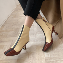 Plus Size 34-43 Genuine Leather Shoes Women Ankle Boots Autumn Thick High Heel Female Boots Zip Winter Leather Shoes Boot Black цены онлайн