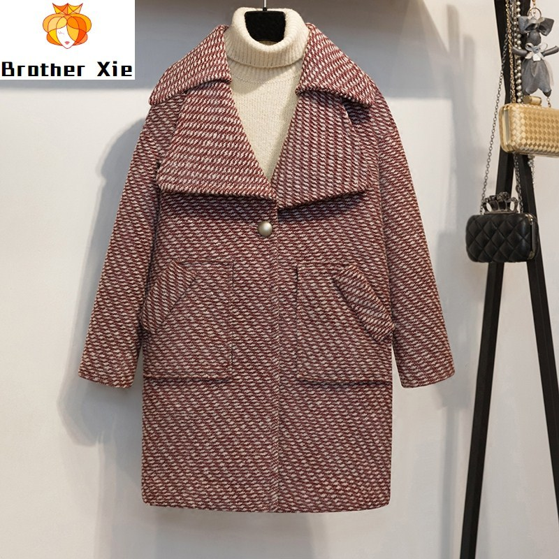 New Wool Coat High Quality Winter Jacket Women Slim Woolen Long Cashmere Coats Cardigan Jackets Elegant Blend Pocket Argyle