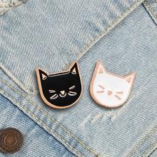 2 шт./компл. милый котенок Брошь с животным из мультфильма черный, белый цвет кошка эмаль на булавке на рюкзак одежда штырь отворотом пара бей...