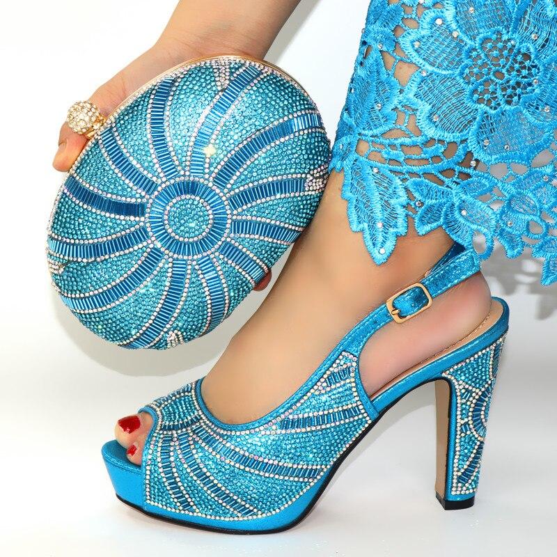 Élégant bleu ciel femmes pompes match sac à main avec grand cristal décoration africaine robe chaussures et sac ensemble CR177, talon 12CM