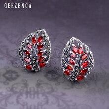 925 Sterling Silver Leaf-shaped Gemstone Marcasite Stud Earring Trendy Vintage Garnet Corundum Earrings Fine Jewelry Women Gift