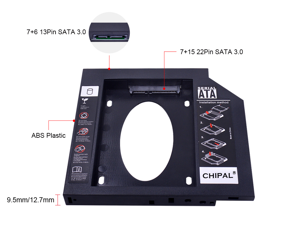CHIPAL Second 2nd HDD Caddy 9MM 9.5MM 12.7MM SATA 3.0 for 2.5'' SSD Case Hard Disk Drive Adapter for Laptop CD DVD-ROM Optibay 2