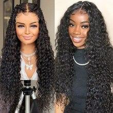 Wigirl onda profunda 30 polegadas longo encaracolado perucas de cabelo humano onda de água brasileira perucas frontais para preto 4x4 perucas de fechamento do laço