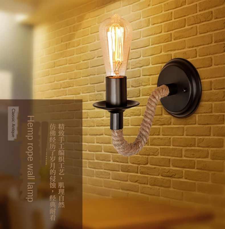 미국 스타일의 복고풍 창조적 인 거실 침실 머리맡의 계단 통로 철 대마 로프 벽 램프 110v 220v