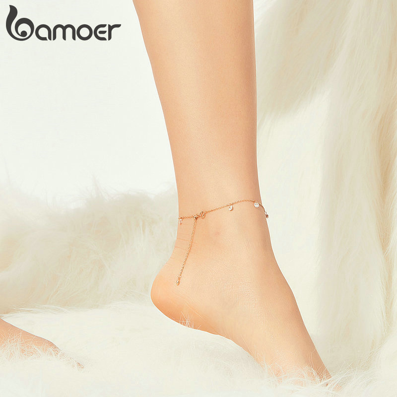 bamoer GXT015 Gentle Rose Golden Shining Zircon Anklets for Women Authentic 925 Sterling Silver Bracelet for Leg Foot Jewelry