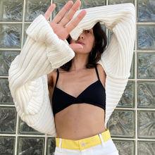 Женский короткий свитер с длинным рукавом привлекательный винтажный