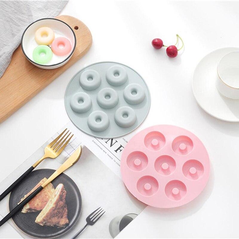 Силиконовая форма в виде пончика, 7 ячеек, форма «сделай сам» для выпечки, десертов, печенья, конфет, высокотемпературный антипригарный кухонный инструмент для выпечки Инструменты для выпечки печенья    АлиЭкспресс - силиконовые формочки