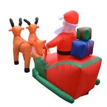 Рождественский Санта Клаус надувной олень сани тележка надутый