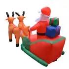 Natal papai noel inflável rena trenó carrinho inflado veados trenó castelo para a criança presentes de natal festa de natal adereços